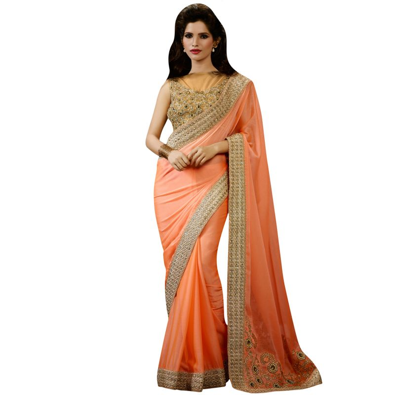 Buy De Marca Womens Orange Satin And Chiffon Designer Saree - (product Code - Hyp9404) - (product Code - Hyp9404) online