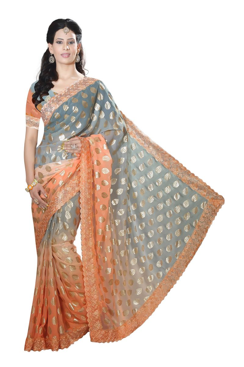 Buy De Marca Orange-grey Colour Chiffon Padding Saree (product Code - M1557) online