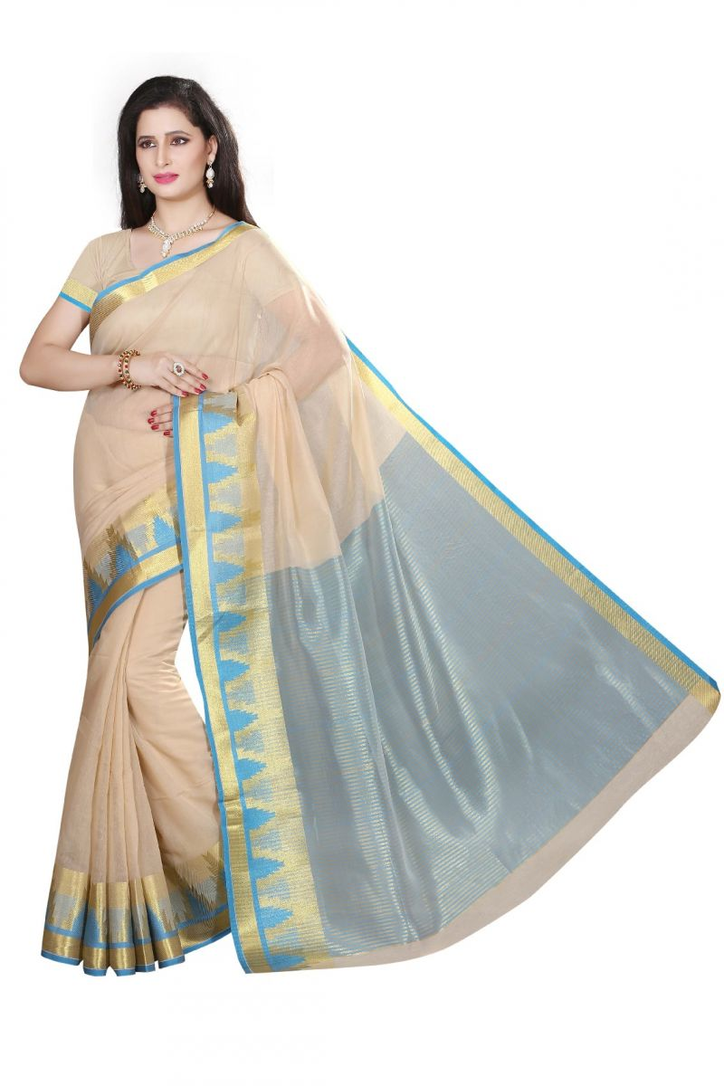 Buy De Marca Beige Cotton Silk Saree online