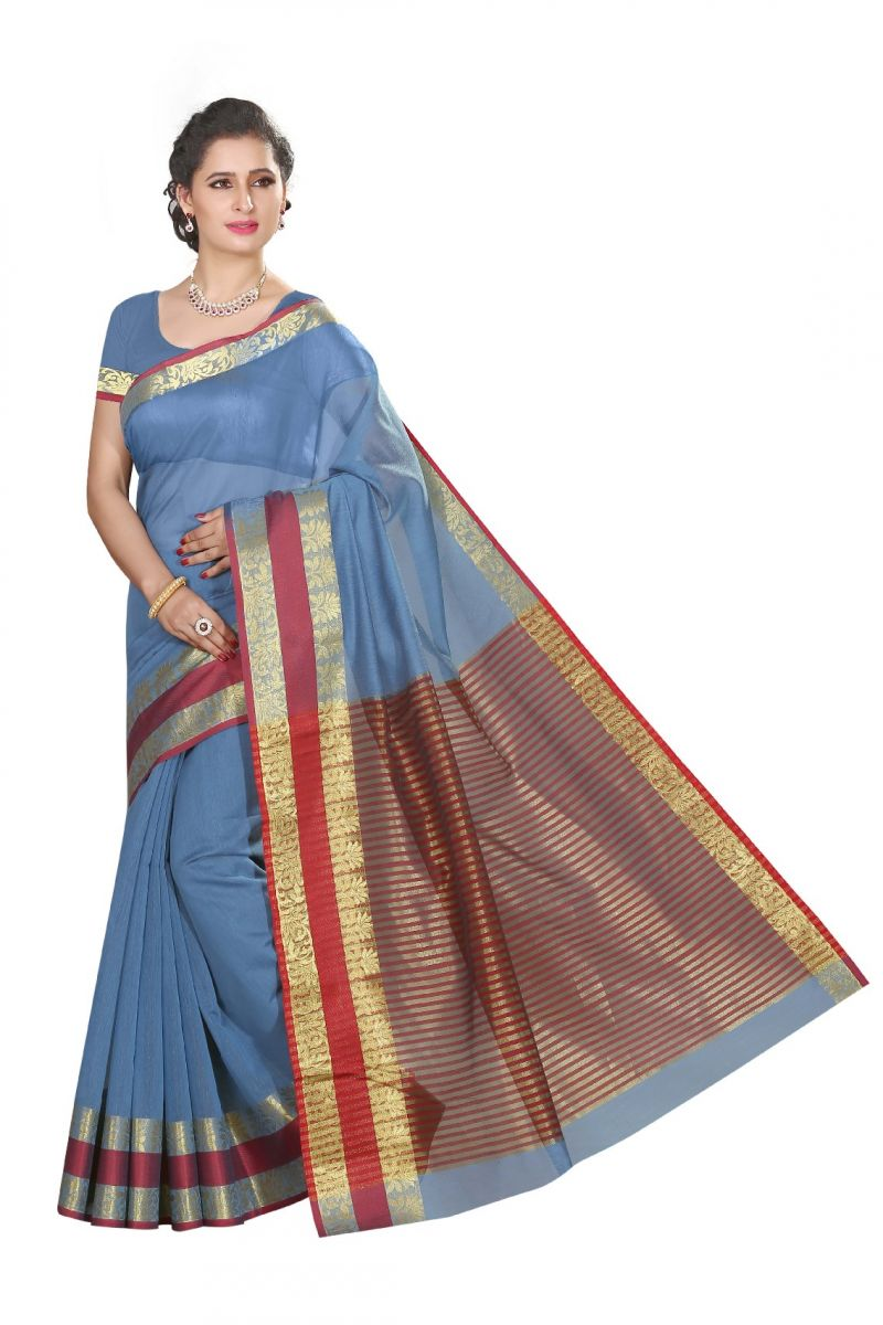 Buy De Marca Blue Cotton Silk Saree online