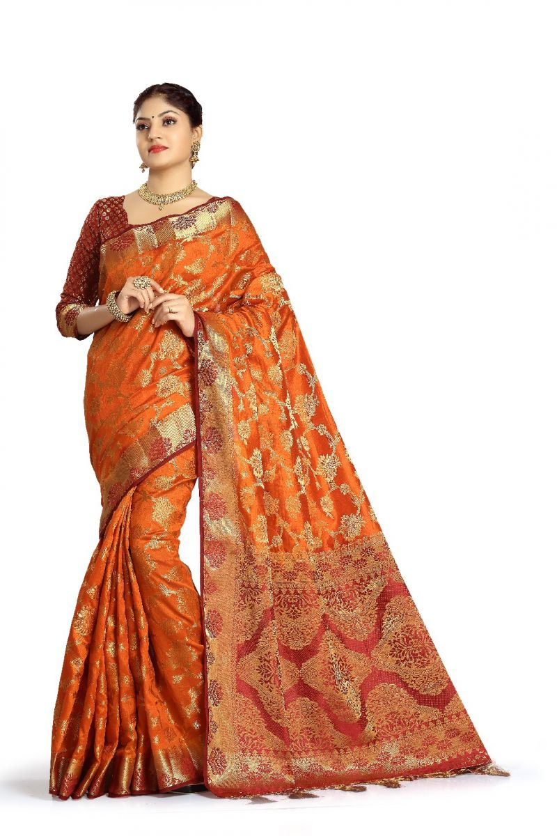 Buy De Marca Orange Colour Tussar Art Silk Saree online