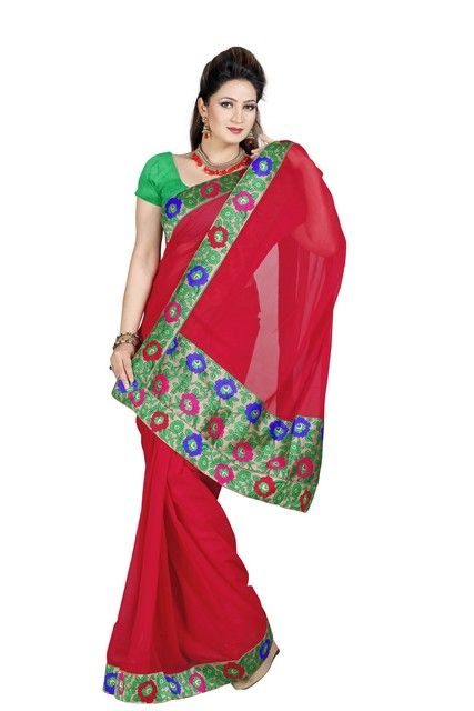 Buy De Marca Faux Chiffon Red Saree online