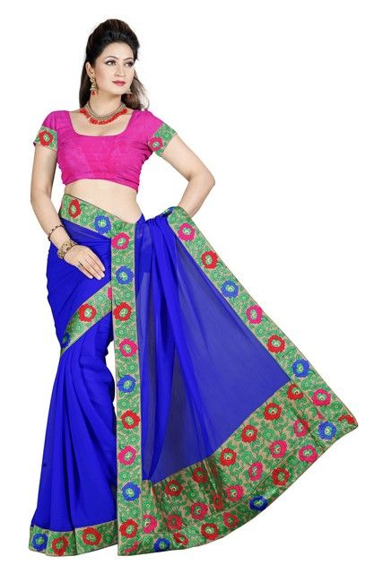 Buy De Marca Blue Color Faux Chiffon Saree online