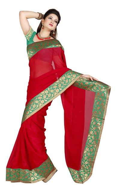 Buy De Marca Faux Chiffon Red Color Saree online