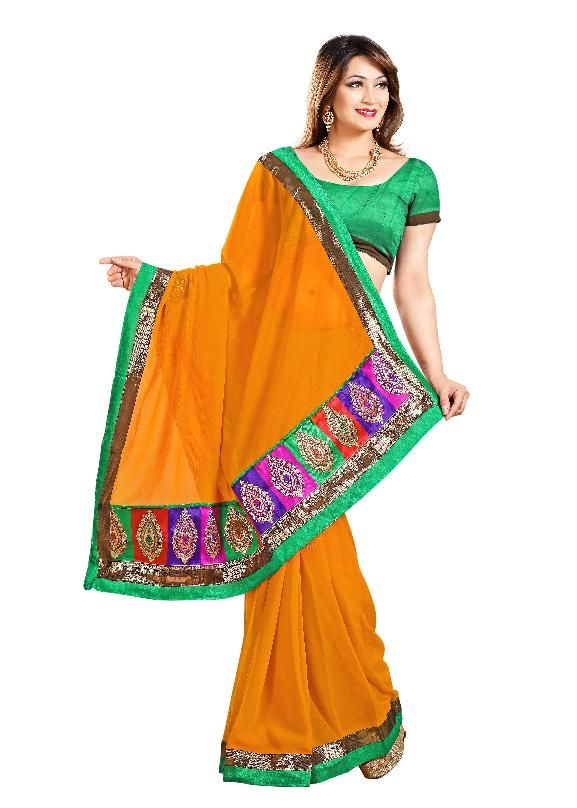 Buy De Marca Rust Faux Chiffon Designer Party Wear Saree online