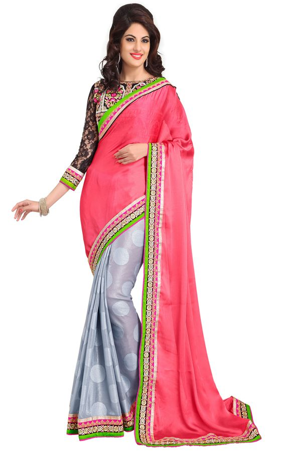 Buy De Marca Multicolor Satin / Chiffon / Georgette / Brasso Ladies Saree - ( Product Code - Md1204 ) online