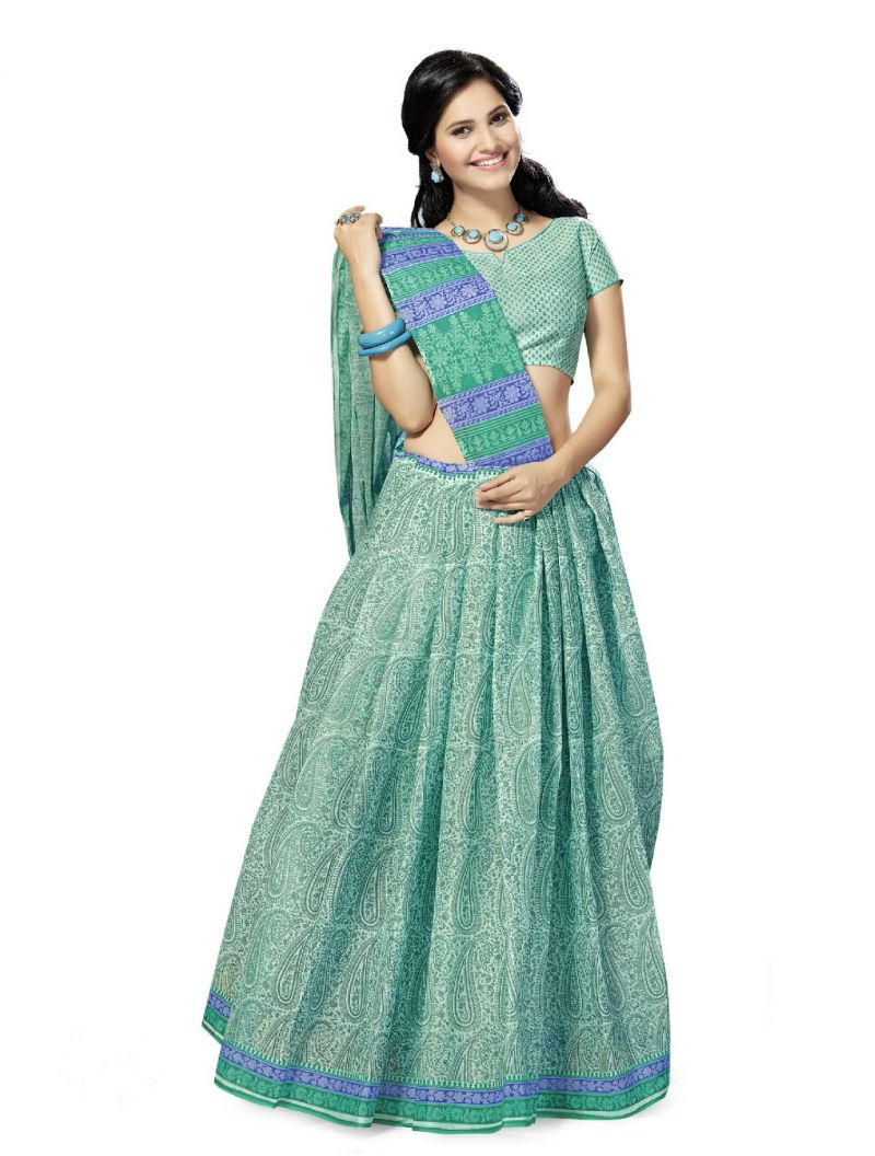 Buy De Marca Green Cotton Saree (product Code - Mon60015) online