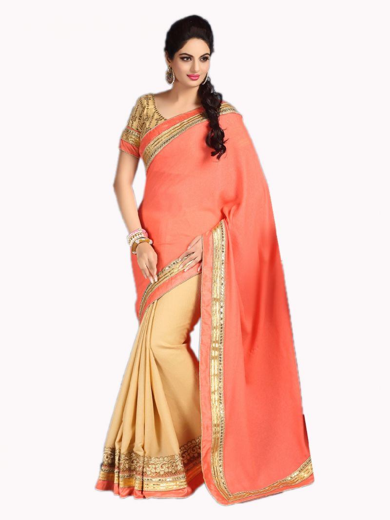 Buy De Marca Silk And Georgette Peach And Chikoo Saree online