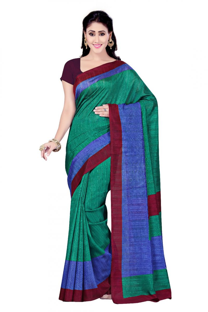 Buy De Marca Green - Blue Art Silk Saree (product Code - P-11) online