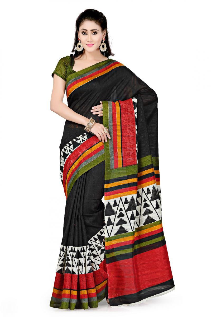Buy De Marca Black Art Silk Saree (product Code - P-15) online