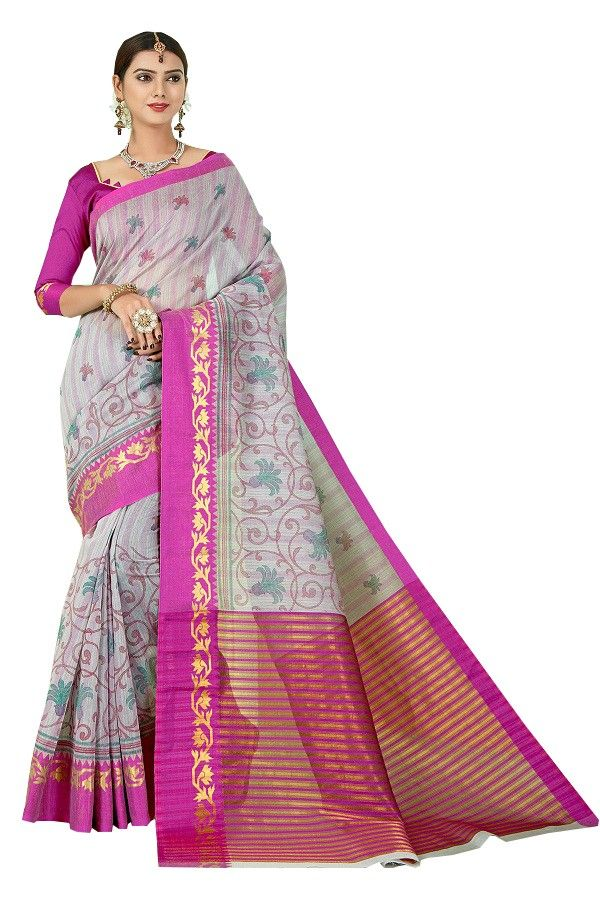Buy De Marca Grey - Purple Gadwal Silk Saree (code - De Marca Sb-1602) online