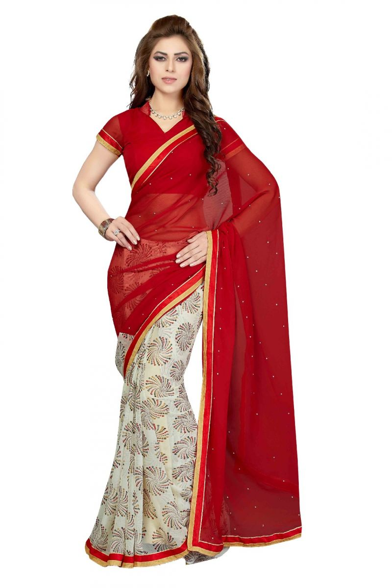 Buy De Marca Red - Cream Colour Faux Chiffon Saree (product Code - Ss4113) online