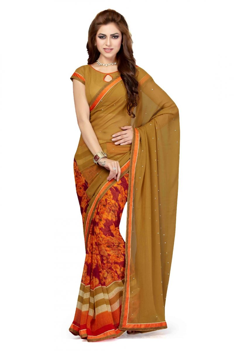 Buy De Marca Chikoo - Orange Colour Faux Chiffon Saree (product Code - Ss4117) online