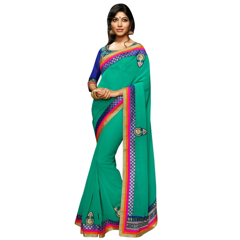 Buy De Marca Womens Green Georgette Designer Saree online