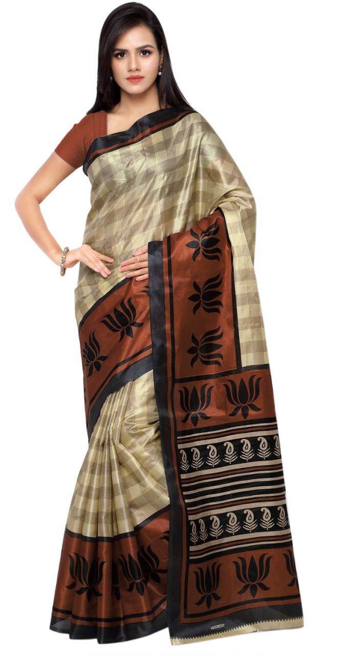 Buy De Marca Beige-brown Colour Art Silk Saree (product Code - Tskj13511c) online