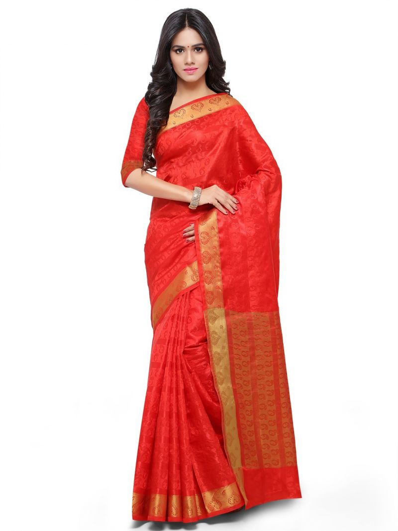 Buy De Marca Red Colour Art Silk Saree (product Code - Tsklil49002) online
