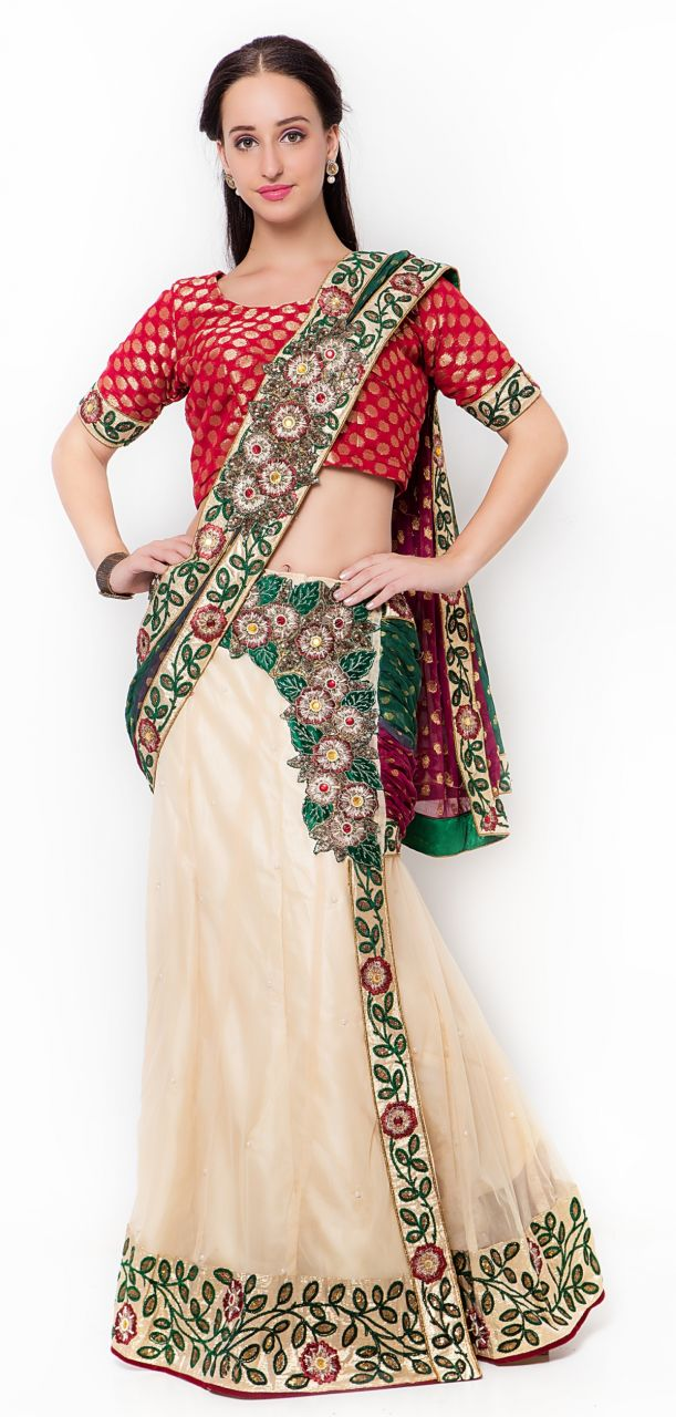 Buy De Marca Cream Colour Net-viscose Saree (product Code - Tsmh2513) online