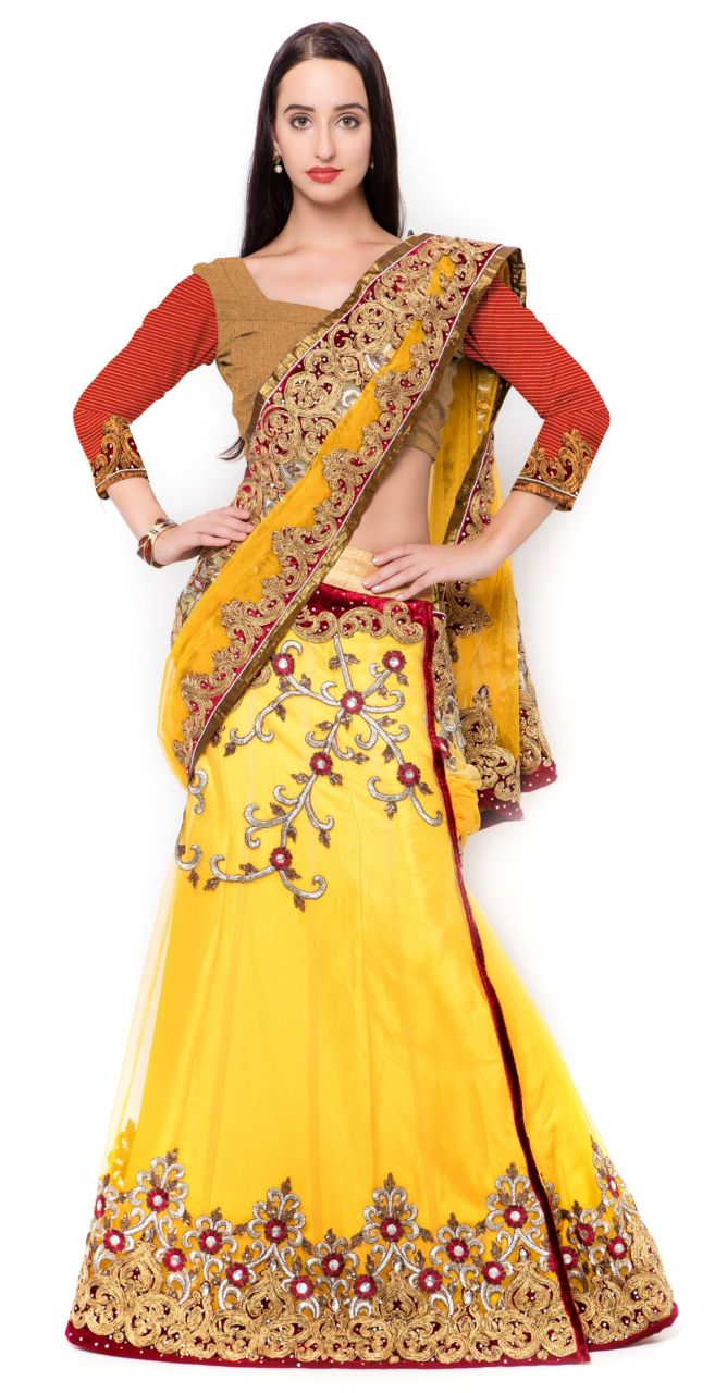 Buy De Marca Yellow Colour Net-silklehenga Saree (product Code - Tsmh6220) online
