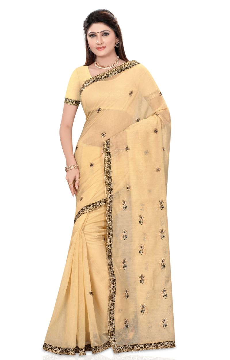 Buy De Marca Beige Colour Cotton Blend Saree (product Code - Tsmrccaz1133) online