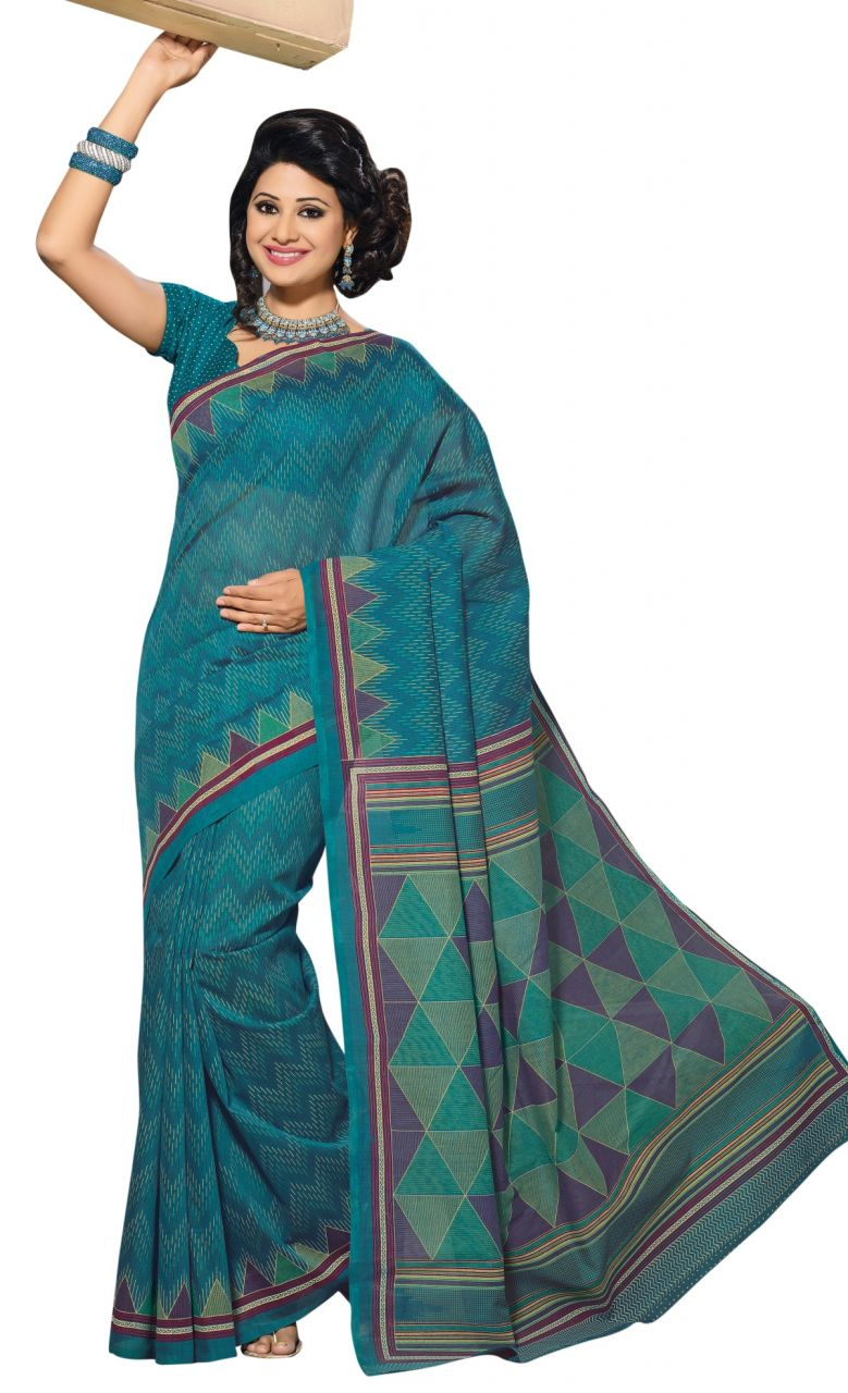 Buy De Marca Blue Colour Cotton Blend Saree (product Code - Tsmrccrd389) online