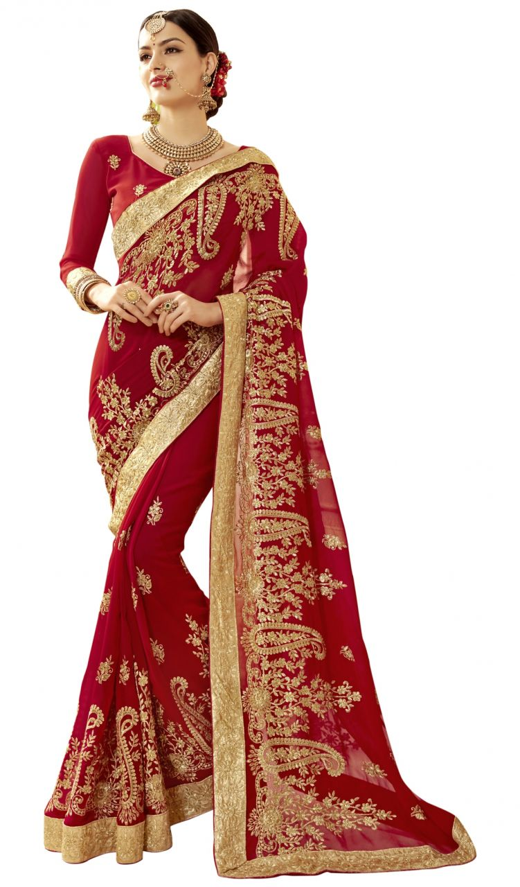 Buy De Marca Red Colour Faux Georgette Saree (product Code - Tsn1214) online