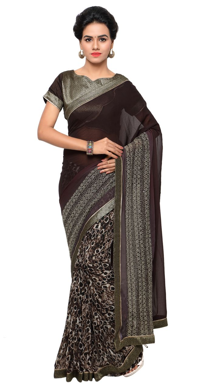 Buy De Marca Brown Colour Faux Georgette Saree (product Code - Tsn645) online