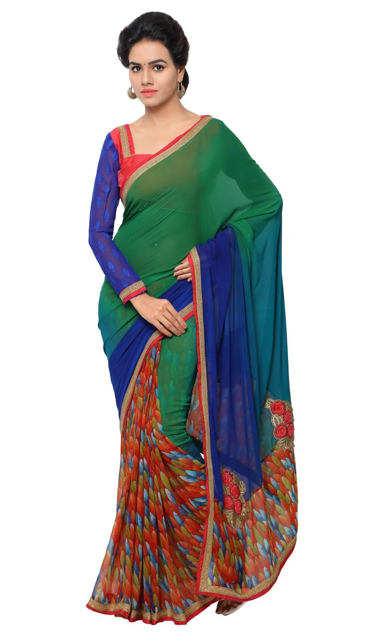 Buy De Marca Green-blue Colour Faux Georgette Saree (product Code - Tsn648) online