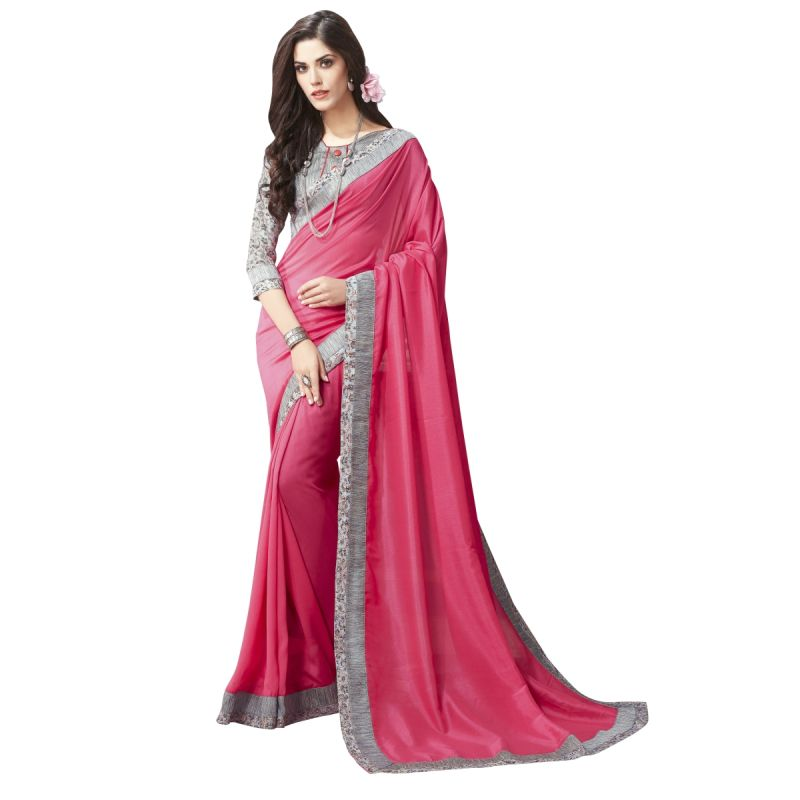 Buy De Marca Pink Chanderi Silk Saree online