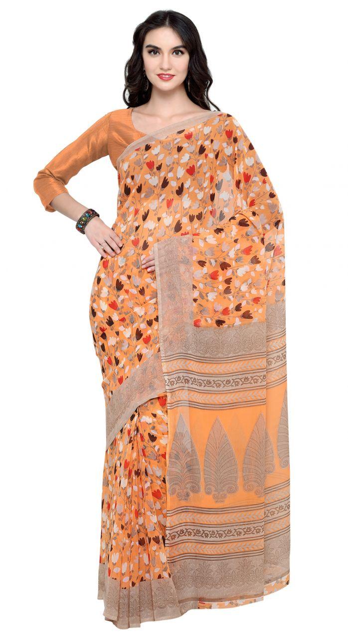 Buy De Marca Orange Colour Faux Georgette Saree (product Code - Tsnsh110) online