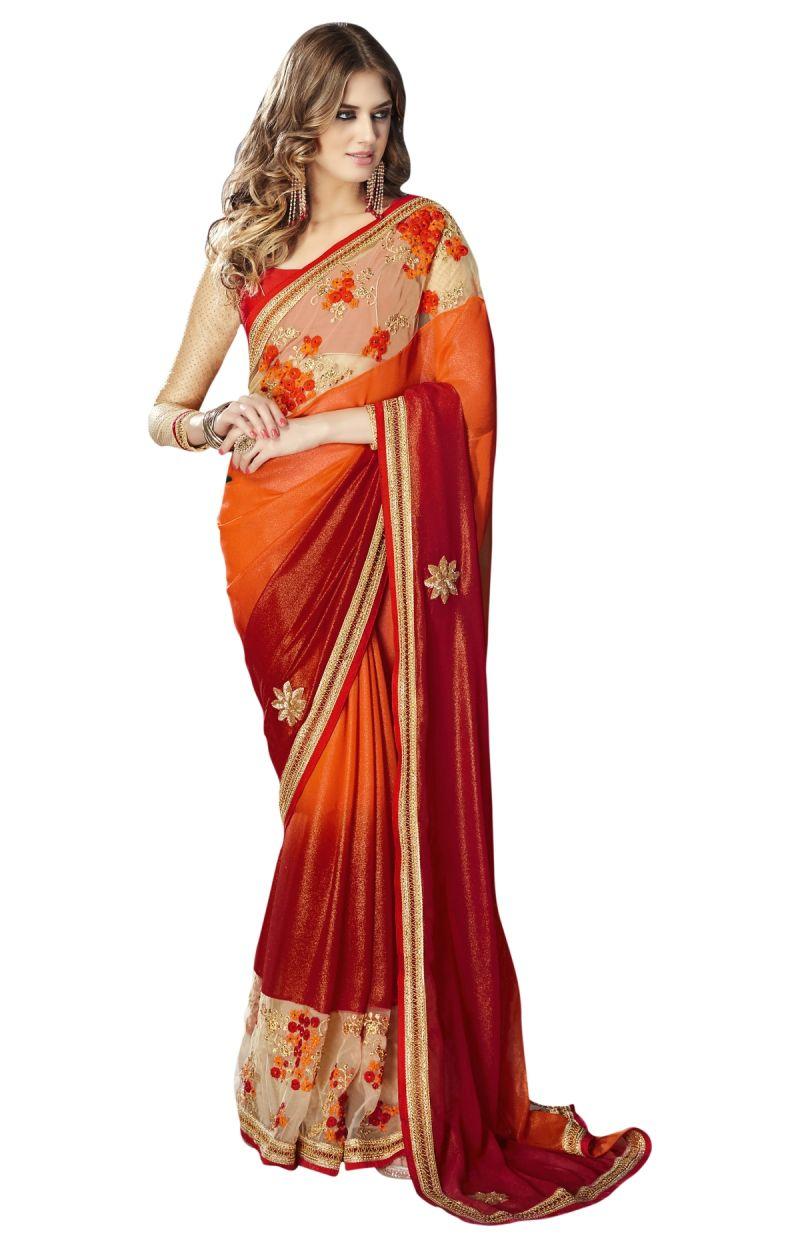 Buy De Marca Orange-maroon Colour Faux Georgette Saree (product Code - Tsnst7001) online