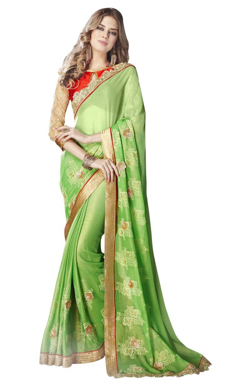 Buy De Marca Green Colour Faux Georgette Saree (product Code - Tsnst7004) online