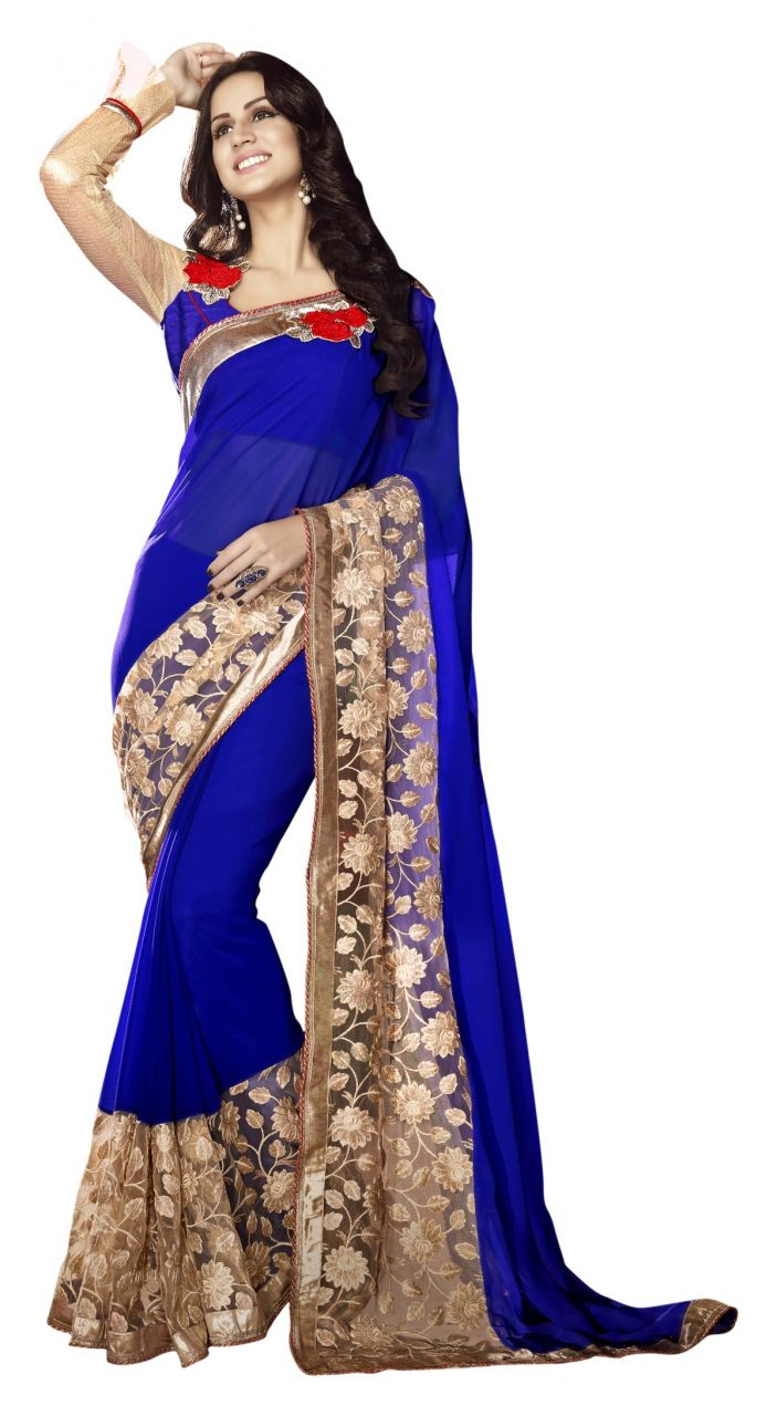 Buy De Marca Blue Colour Faux Georgette Saree (product Code - Tsnst7007) online