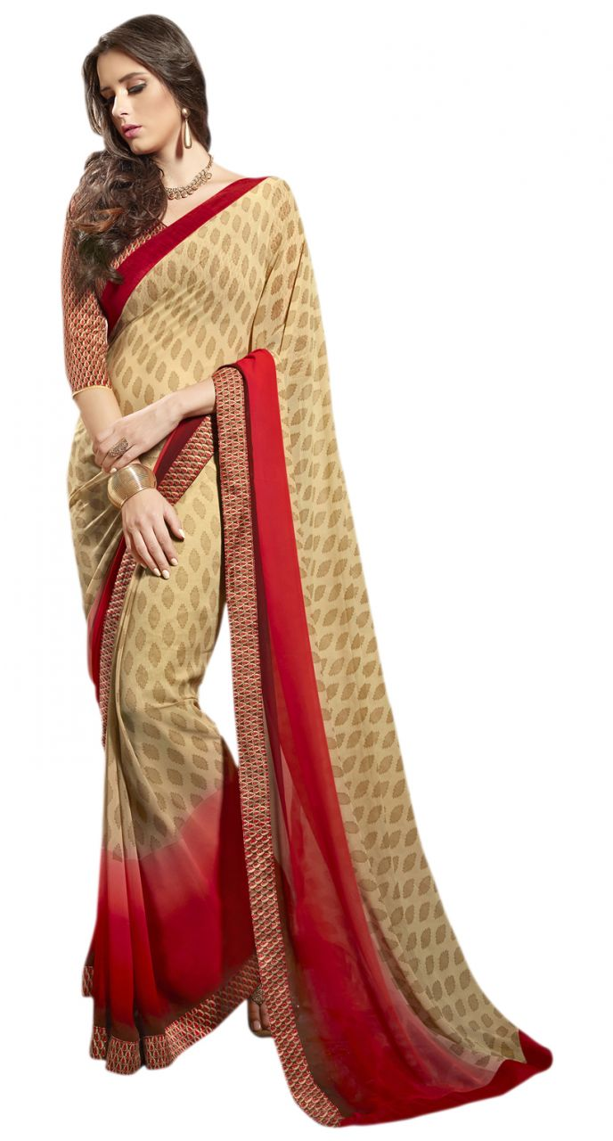 Buy De Marca Beige-red Colour Faux Georgette Saree (product Code - Tsnsy31035) online