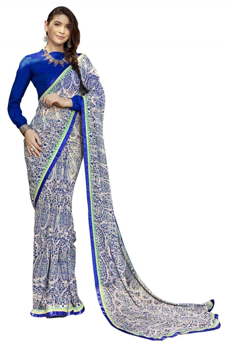 Buy De Marca Blue Colour Faux Georgette Saree (product Code - Tsntn2002) online