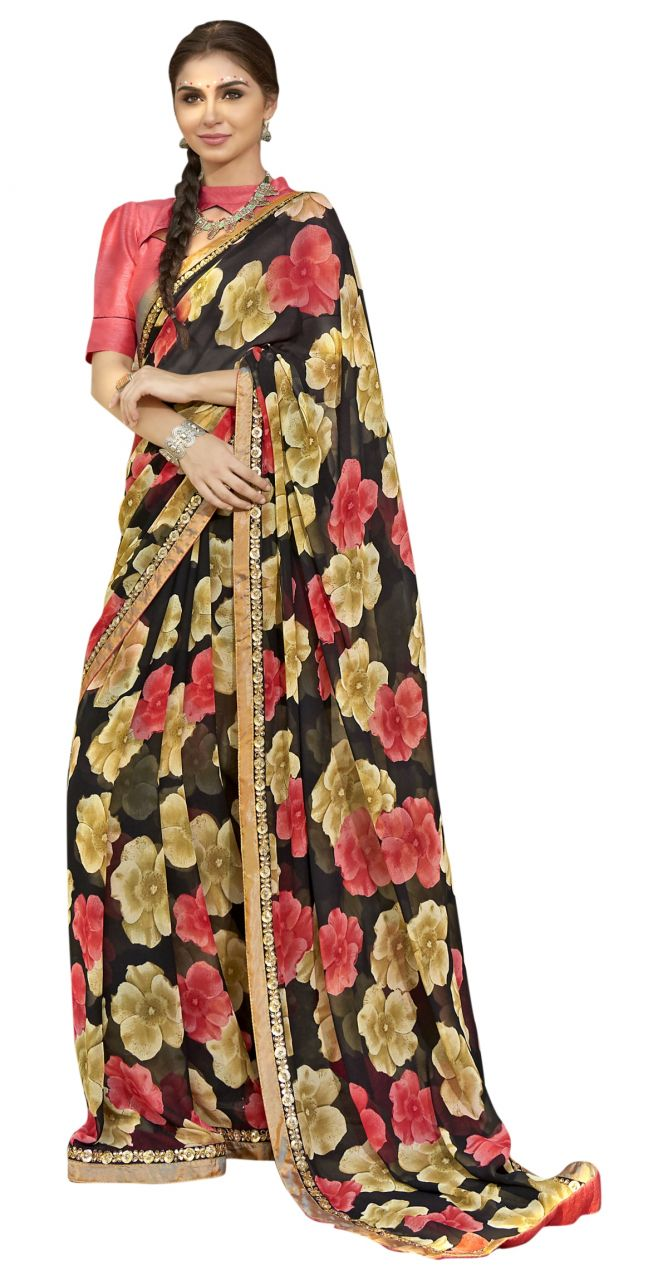 Buy De Marca Black Colour Faux Georgette Saree (product Code - Tsntn2003) online