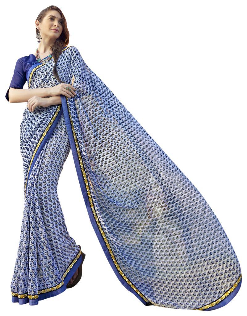 Buy De Marca Blue Colour Faux Georgette Saree (product Code - Tsntn2008) online