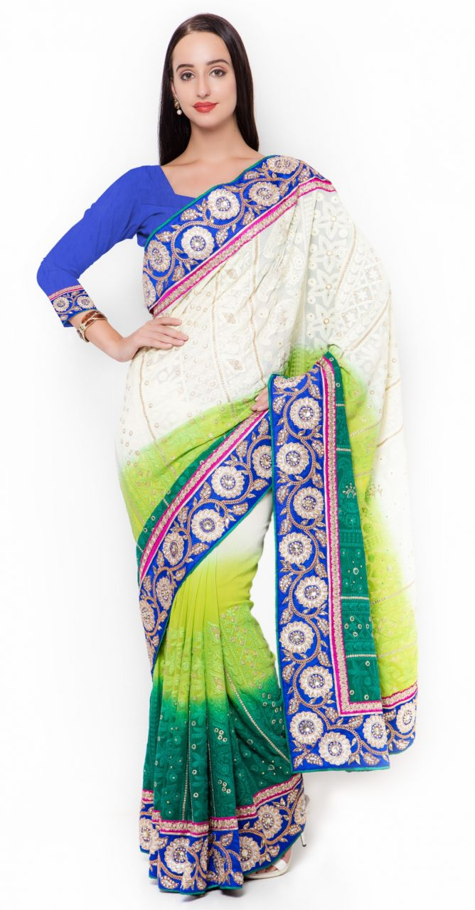 Buy De Marca Multi Colour Faux Georgette Saree (product Code - Tspn2722) online