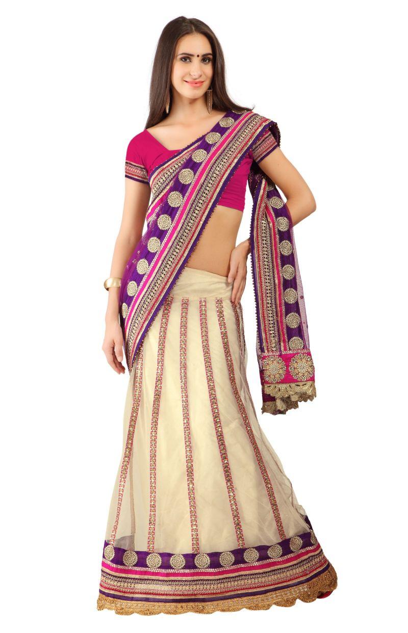 Buy De Marca Beige-purple Colour Netlehenga Saree (product Code - Tssf1726) online
