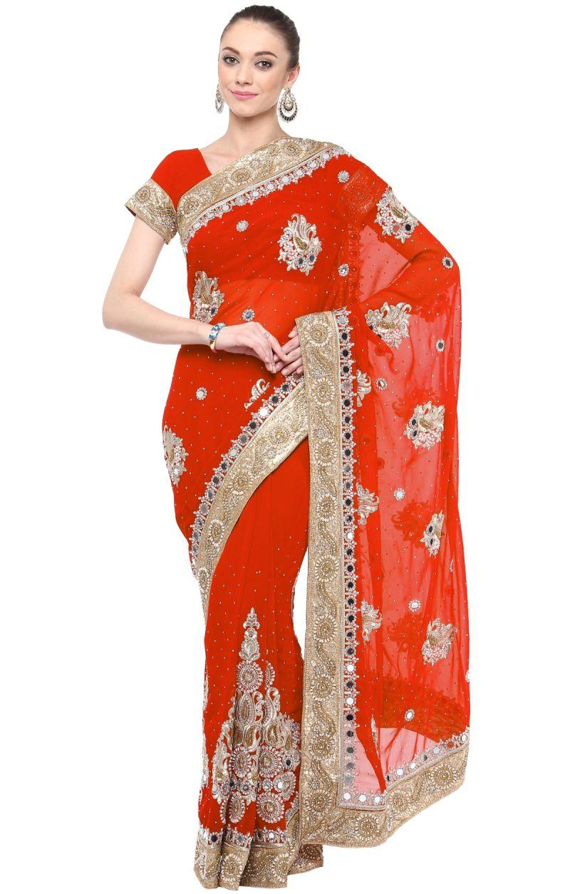 Buy De Marca Red Colour Faux Georgette Saree (product Code - Tssf9419d) online