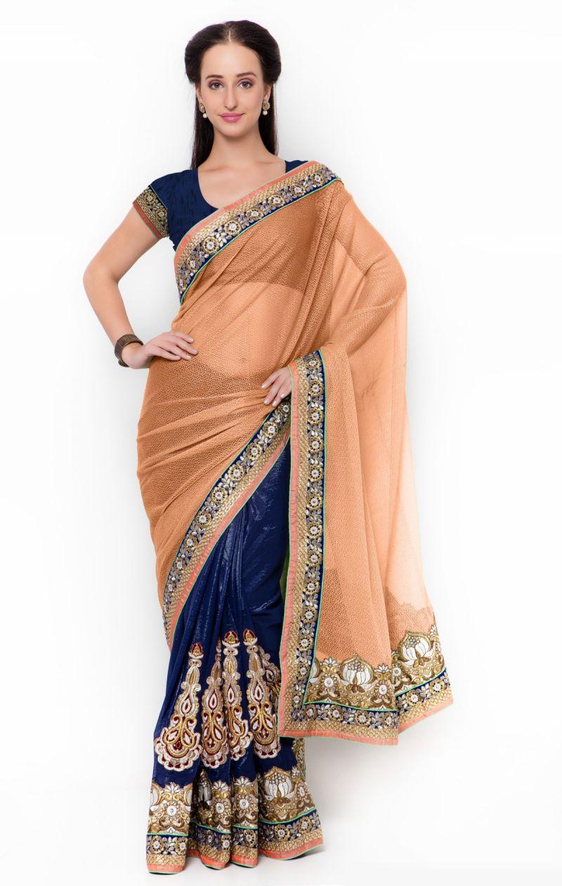 Buy De Marca Blue-orange Colour Faux Georgette Half N Half Saree (product Code - Tssf9717c) online