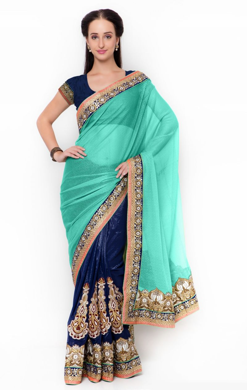 Buy De Marca Blue-green Colour Net Half N Half Saree (product Code - Tssf9717e) online