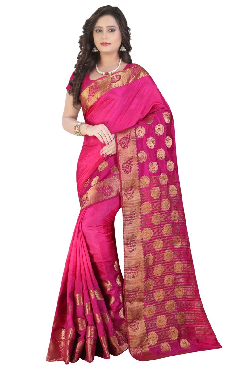 Buy De Marca Magenta Colour Banarasi Silk Saree (product Code - Tswtsn13329) online