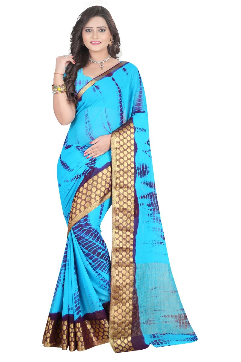 Buy De Marca Blue Colour Chiffon Saree (product Code - Tswtsn13341) online