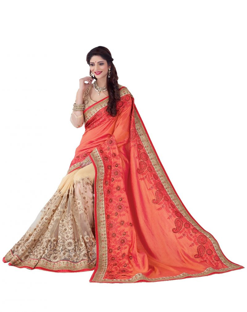 Buy De Marca Peach - Beige Colour Silk - Net Saree (product Code - V17314) online