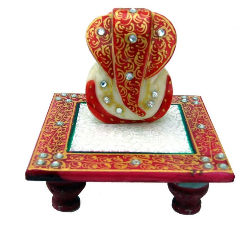 Buy Red Golden Marble Chowki Ganesh online