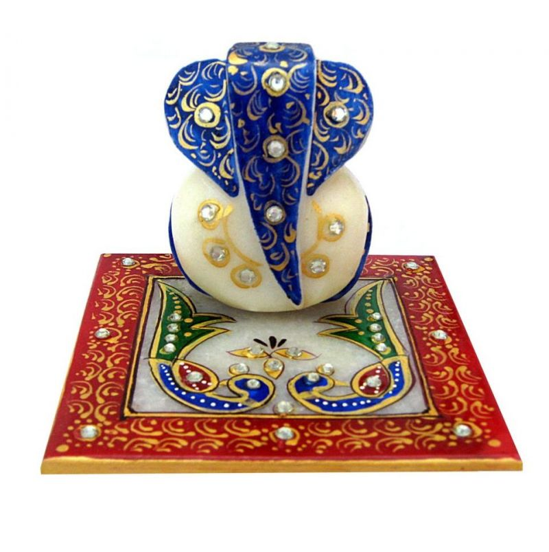 Buy Blue And Peacock Marble Chowki Ganesh from Rajasthan online