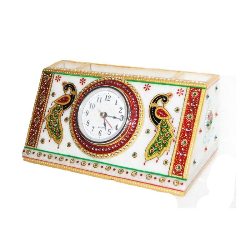 Buy Peacock Marble Pen Stand With Peacock online