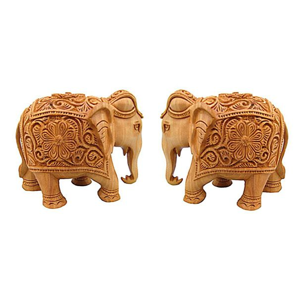 Buy Wooden Elephant Pair from Rajasthan online