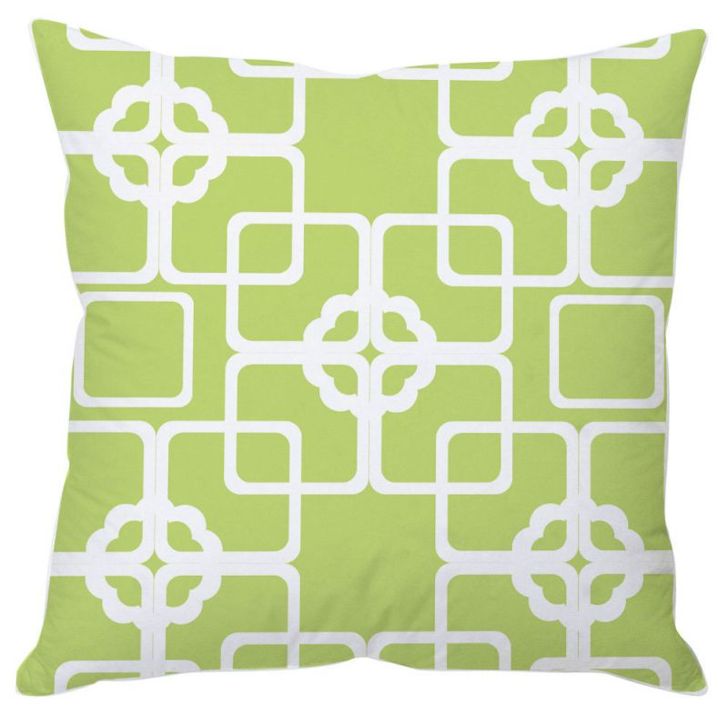Buy White And Green Block Print Cushion Cover online