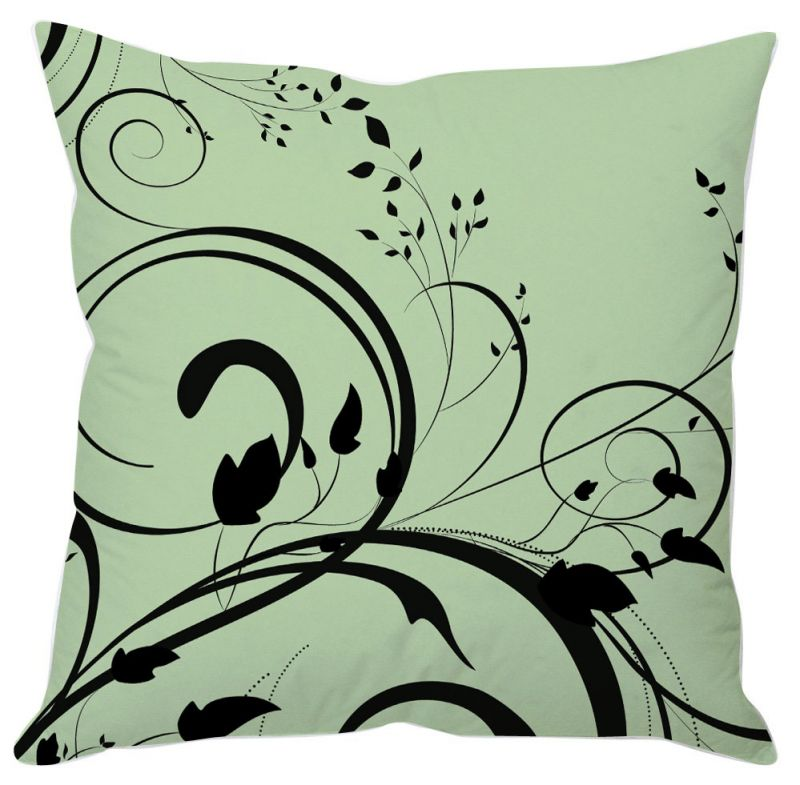 Buy Black Leaf Abstract Green Cushion Cover online